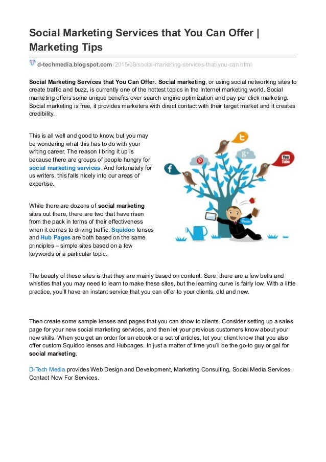social marketing services that you can offer marketing tips