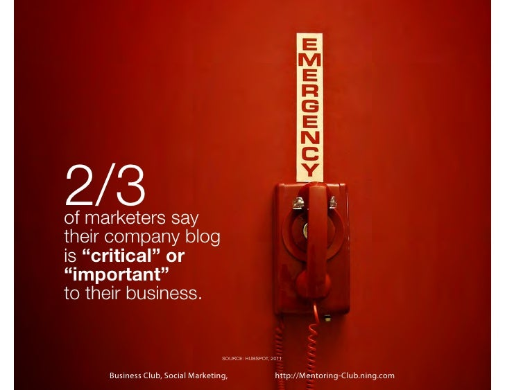 """2/3of marketers saytheir company blogis """"critical"""" or""""important""""to their business.                                   SOURC..."""