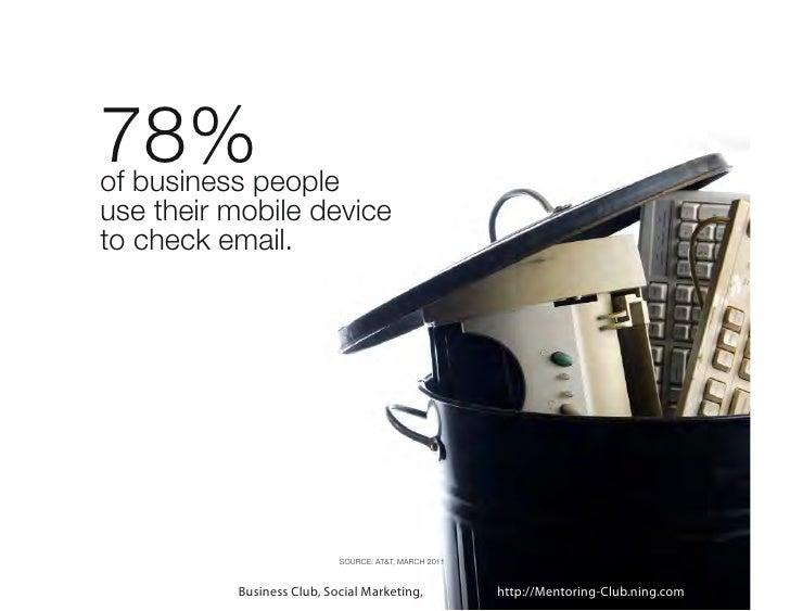 78%     of business people     use their mobile device     to check email.20                              SOURCE: AT&T, MA...
