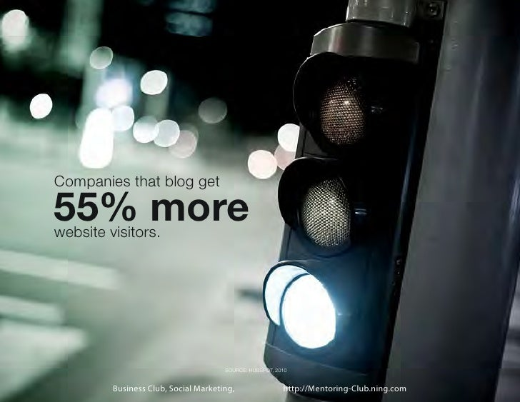 Companies that blog get55% morewebsite visitors.                                      SOURCE: HUBSPOT, 2010         Busine...