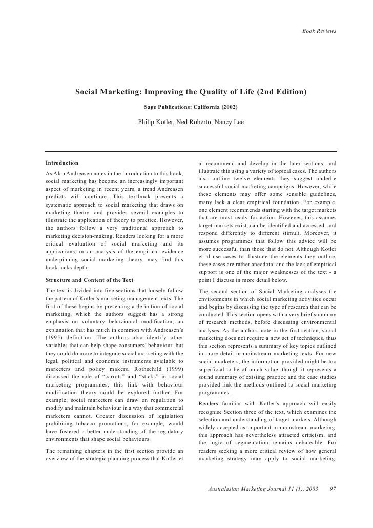 Book Reviews            Social Marketing: Improving the Quality of Life (2nd Edition)                                     ...