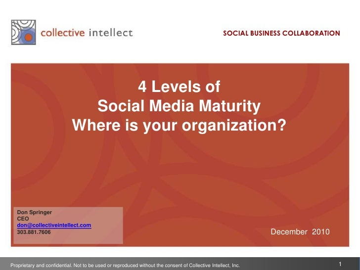 SOCIAL BUSINESS COLLABORATION<br />4 Levels of<br />Social Media Maturity  <br />Where is your organization?<br />Don Spri...