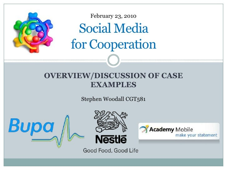 Overview/Discussion of Case Examples<br />Social Media for Cooperation<br />February 23, 2010<br />Stephen Woodall CGT581<...
