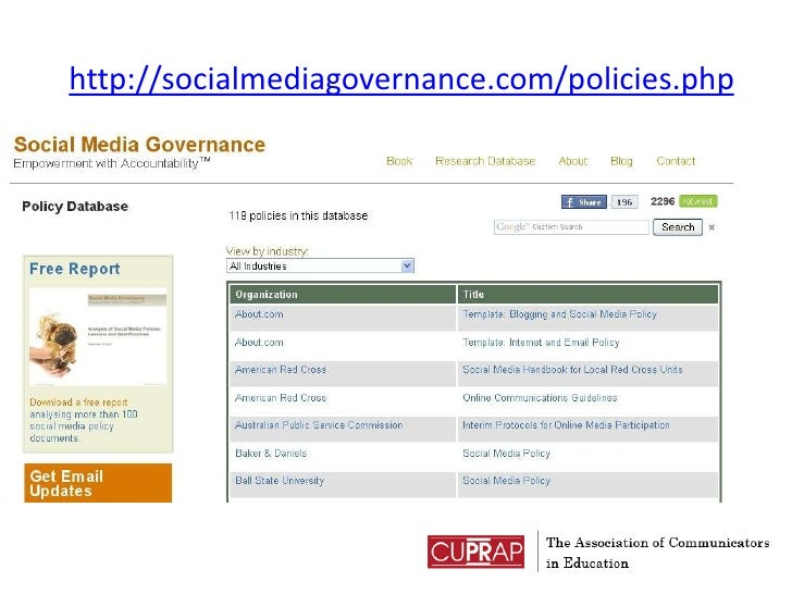 http://socialmediagovernance.com/policies.php<br />