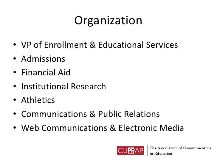 Organization<br />VP of Enrollment & Educational Services<br />Admissions<br />Financial Aid<br />Institutional Research<b...