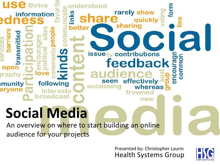 Social Media An overview on where to start building an online audience for your projects Presented by: Christopher Laurin ...