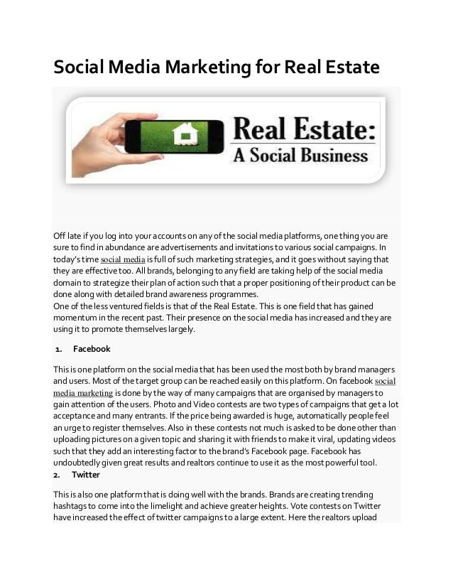 Social Media Marketing for Real Estate Off late if you log into your accounts on any of the social media platforms, one th...