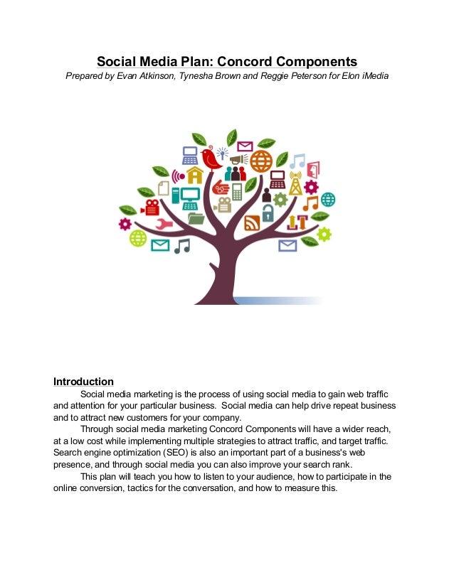 Social Media Plan: Concord Components Prepared by Evan Atkinson, Tynesha Brown and Reggie Peterson for Elon iMedia Introdu...