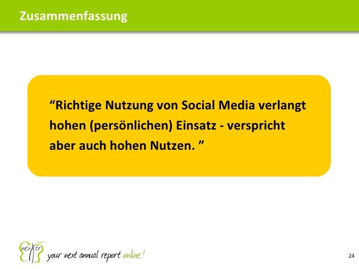 """Zusammenfassung """" Richtige Nutzung von Social Media verlangt hohen (persönlichen) Einsatz - verspricht aber auch hohen Nut..."""