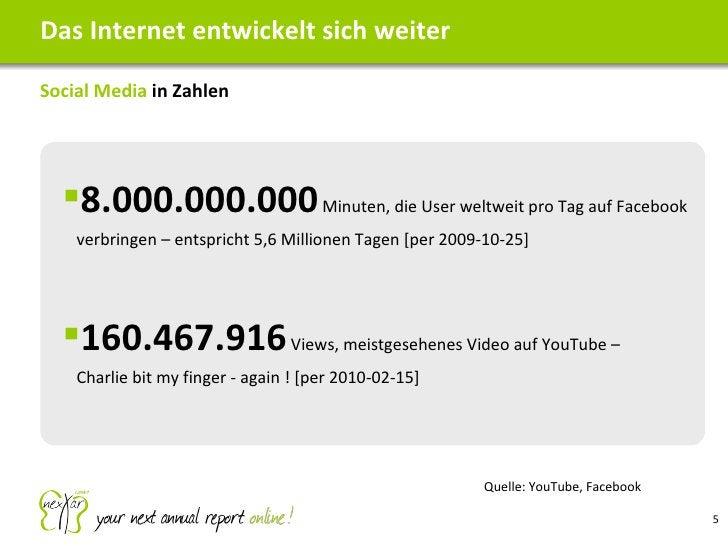 <ul><li>Social Media   in Zahlen </li></ul>Das Internet entwickelt sich weiter <ul><ul><li>8.000.000.000  Minuten, die Use...