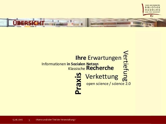 ÜBERSICHT 13.06.2016 <Name und/oder Titel der Veranstaltung>3 Klassische Recherche Informationen in Sozialen Netzen Ihre E...