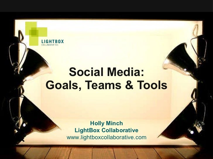 Social Media: Goals, Teams & Tools Holly Minch LightBox Collaborative www.lightboxcollaborative.com
