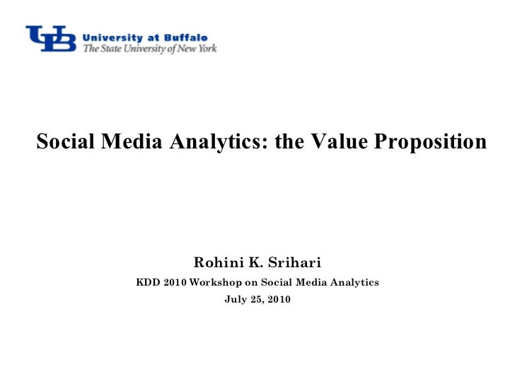 Social Media Analytics: the Value Proposition                   Rohini K. Srihari         KDD 2010 Workshop on Social Medi...