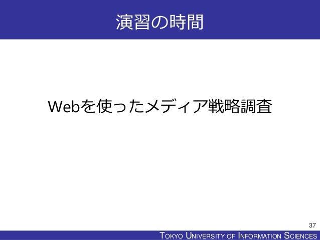 TOKYO JOHO UNIVERSITYTOKYO UNIVERSITY OF INFORMATION SCIENCES 演習の時間 Webを使ったメディア戦略調査 37