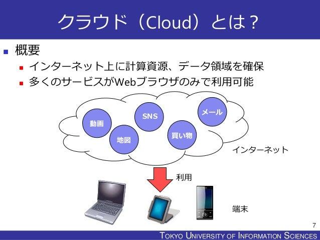TOKYO JOHO UNIVERSITYTOKYO UNIVERSITY OF INFORMATION SCIENCES クラウド(Cloud)とは?  概要  インターネット上に計算資源、データ領域を確保  多くのサービスがWebブラ...
