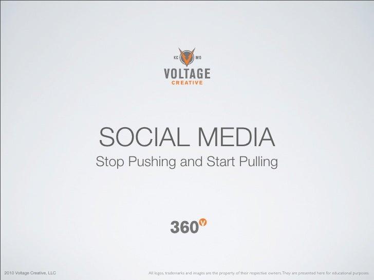 SOCIAL MEDIA                              Stop Pushing and Start Pulling     2010 Voltage Creative, LLC           All logo...