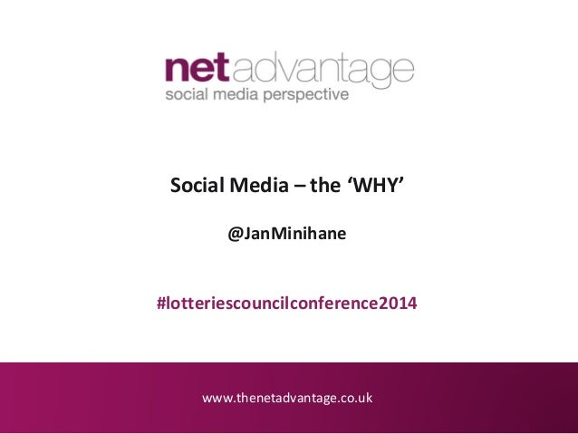 www.thenetadvantage.co.uk Social Media – the 'WHY' @JanMinihane #lotteriescouncilconference2014