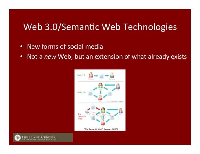 Web  3.0/SemanFc  Web  Technologies   • New  forms  of  social  media   • Not  a  new  Web,  b...