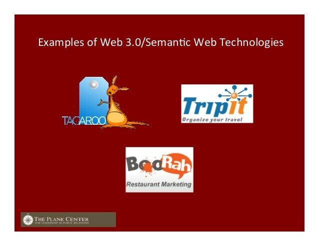 Examples  of  Web  3.0/SemanFc  Web  Technologies
