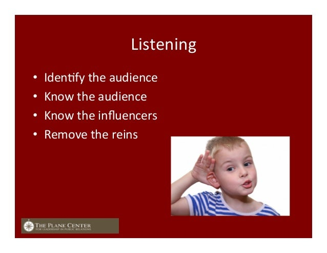 Listening   • IdenFfy  the  audience   • Know  the  audience   • Know  the  influencers   • Remove...