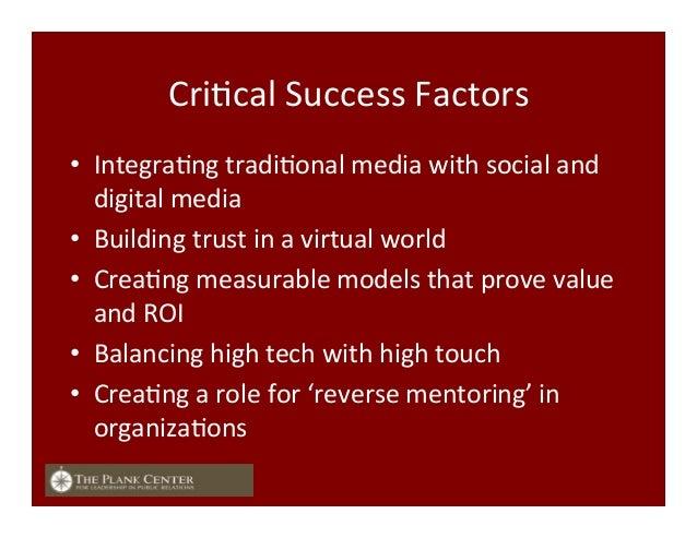 CriFcal  Success  Factors   • IntegraFng  tradiFonal  media  with  social  and   digital  media   •...