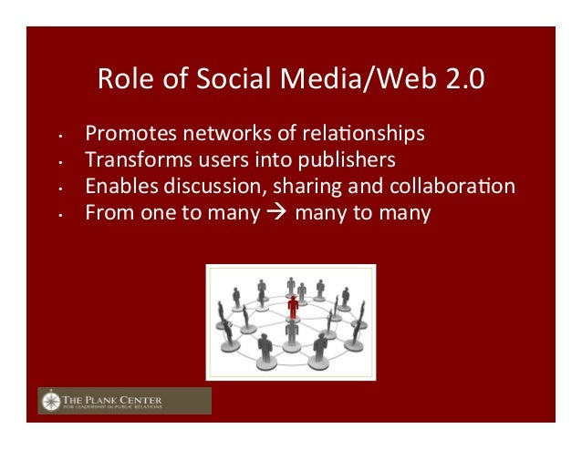 Role  of  Social  Media/Web  2.0   • Promotes  networks  of  relaFonships   • Transforms  users  i...