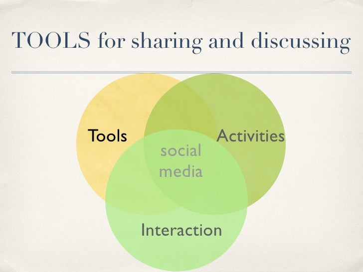 TOOLS for sharing and discussing           Tools              Activities                  social                  media   ...