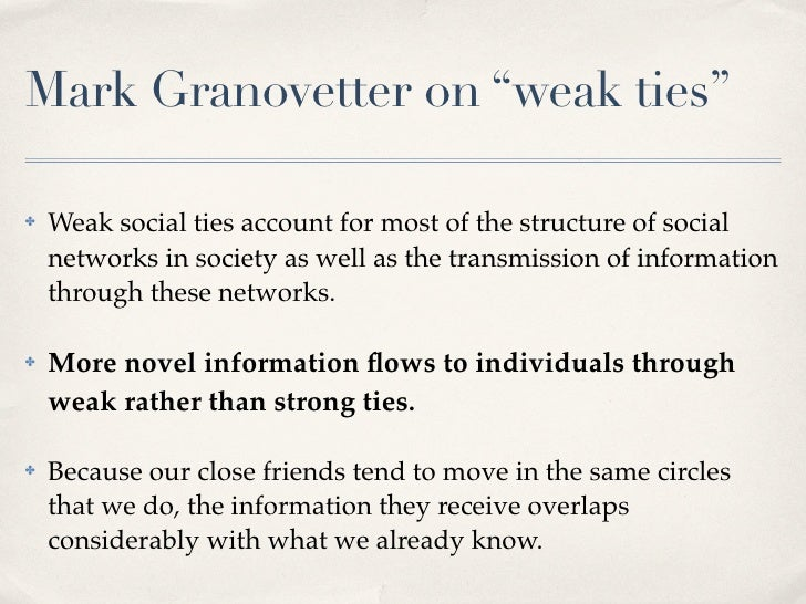 """Mark Granovetter on """"weak ties""""      Weak social ties account for most of the structure of social ✤       networks in soci..."""