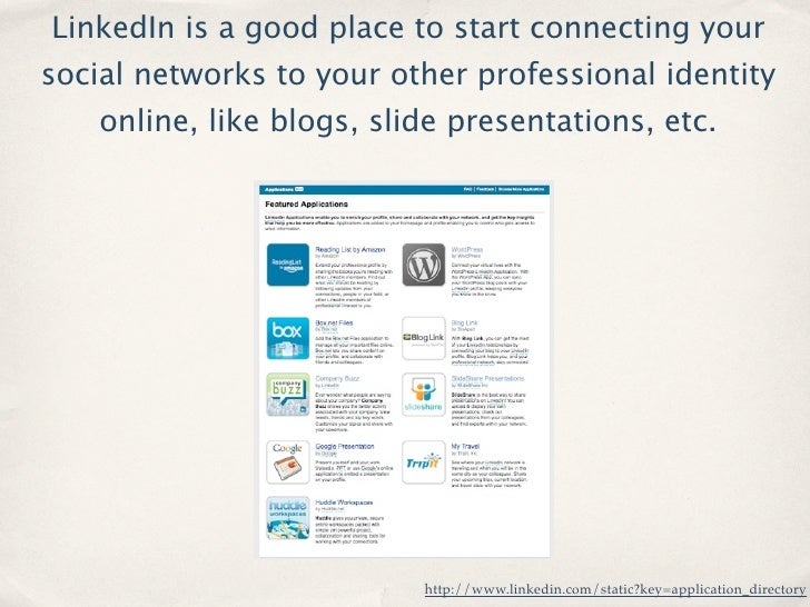 LinkedIn is a good place to start connecting your social networks to your other professional identity     online, like blo...