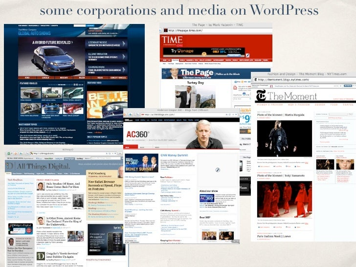 some corporations and media on WordPress