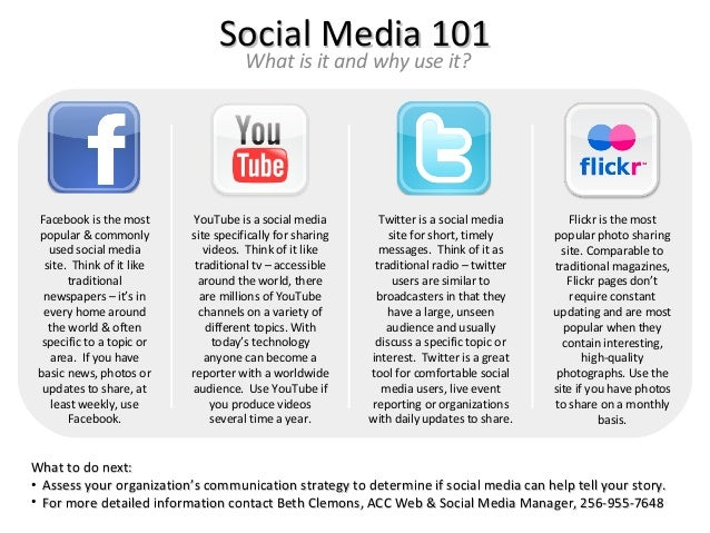 Social Media 101                                      What is it and why use it? Facebook is the most      YouTube is a so...