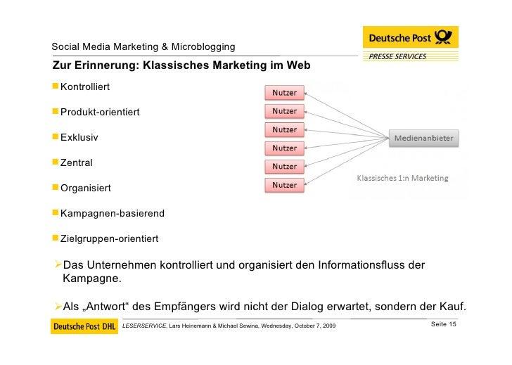 Zur Erinnerung: Klassisches Marketing im Web <ul><li>Kontrolliert </li></ul><ul><li>Produkt-orientiert </li></ul><ul><li>E...