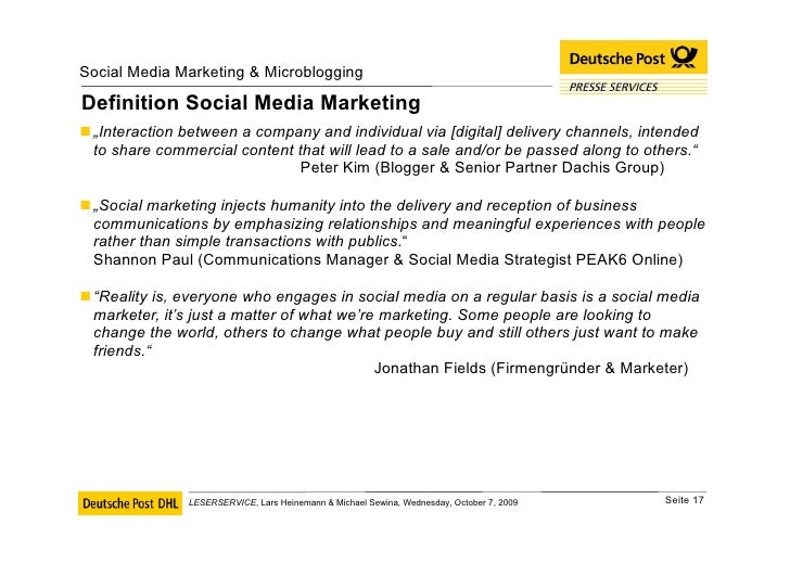 """Definition Social Media Marketing <ul><li>"""" Interaction between a company and individual via [digital] delivery channels, ..."""