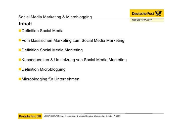 Inhalt <ul><li>Definition Social Media </li></ul><ul><li>Vom klassischen Marketing zum Social Media Marketing </li></ul><u...