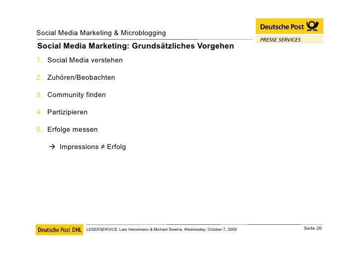 Social Media Marketing: Grundsätzliches Vorgehen <ul><li>Social Media verstehen </li></ul><ul><li>Zuhören/Beobachten </li>...