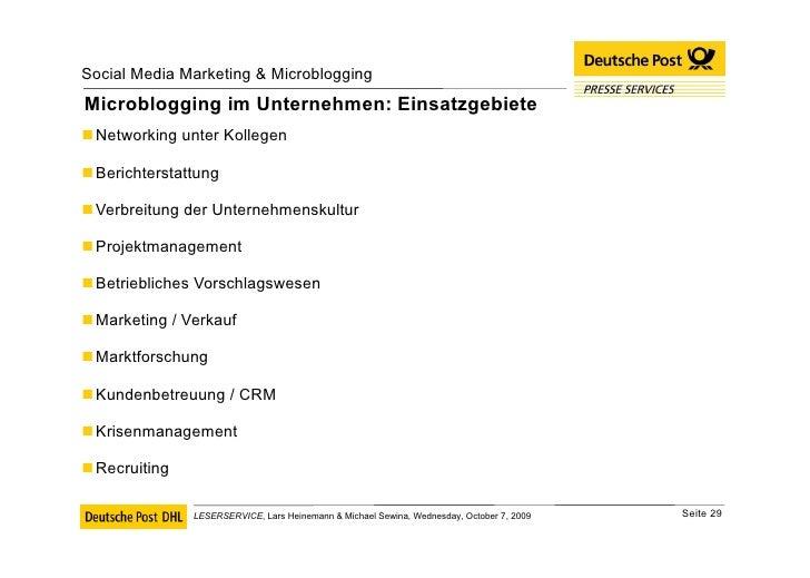 Microblogging im Unternehmen: Einsatzgebiete <ul><li>Networking unter Kollegen </li></ul><ul><li>Berichterstattung </li></...