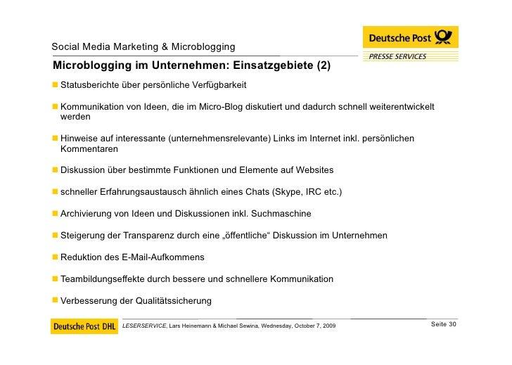 Microblogging im Unternehmen: Einsatzgebiete (2) <ul><li>Statusberichte über persönliche Verfügbarkeit  </li></ul><ul><li>...