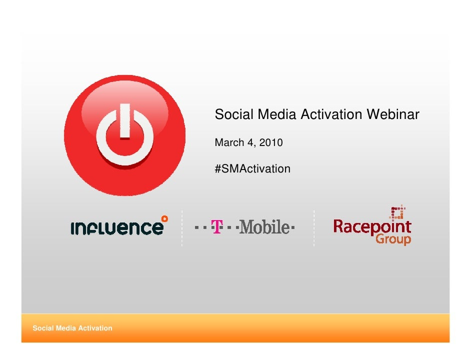 Social Media Activation Webinar                           March 4, 2010                            #SMActivation     Socia...