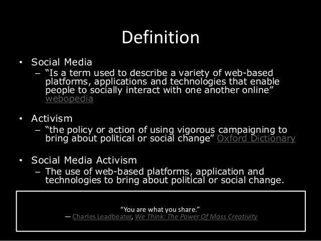 role of social media on activism By sabina khan-ibarra social media: websites and applications that enable users to create and share content or to participate in social networking activism: the.