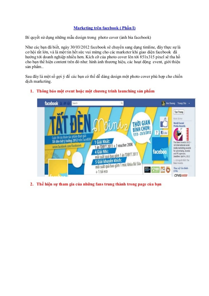 Marketing trên facebook ( Phần I)Bí quyết sử dụng những mẫu design trong photo cover (ảnh bìa facebook)Như các bạn đã biết...