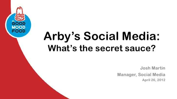 Arby's Social Media:What's the secret sauce?                         Josh Martin               Manager, Social Media      ...
