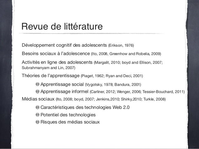 Développement cognitif des adolescents (Erikson, 1976)  Besoins sociaux à l'adolescence (Ito, 2008, Greenhow and Robelia, ...