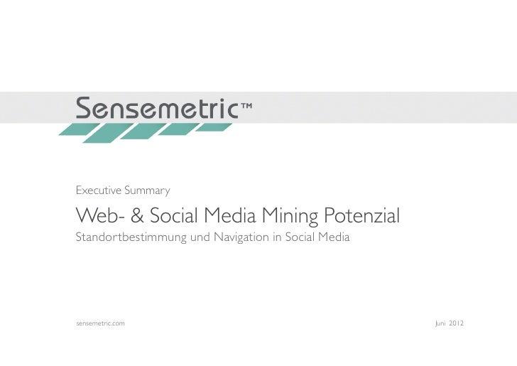 Executive SummaryWeb- & Social Media Mining PotenzialStandortbestimmung und Navigation in Social Mediasensemetric.com     ...