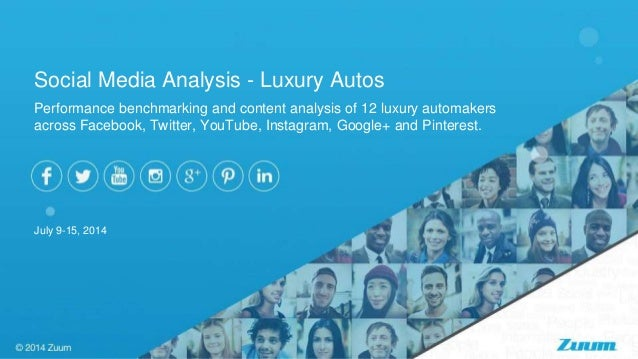 Performance benchmarking and content analysis of 12 luxury automakers across Facebook, Twitter, YouTube, Instagram, Google...