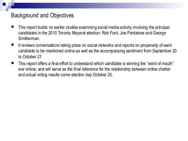 Social media analysis for toronto 2010 mayoral election Slide 2
