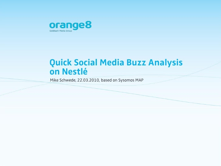 Quick Social Media Buzz Analysis on Nestlé Mike Schwede, 22.03.2010, based on Sysomos MAP