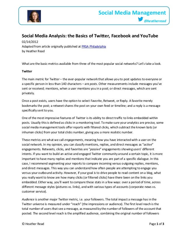 © Heather Read Page 1 of 3Social Media Management@heatherreadSocial Media Analysis: the Basics of Twitter, Facebook and Yo...