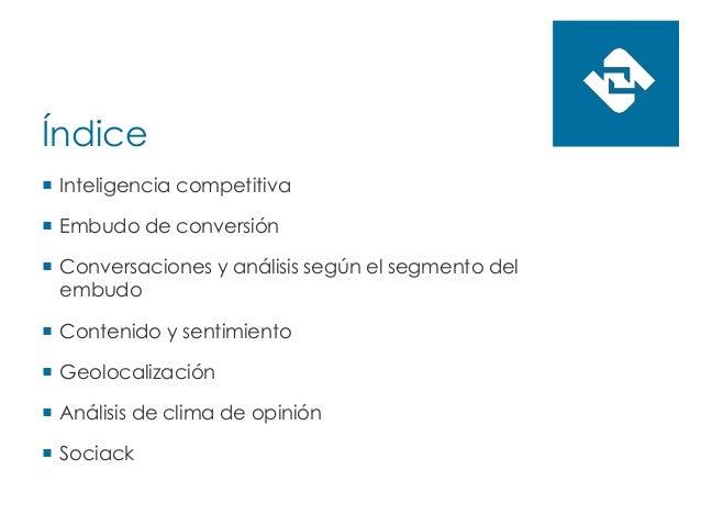Índice  Inteligencia competitiva  Embudo de conversión  Conversaciones y análisis según el segmento del embudo  Conten...