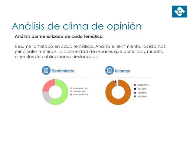 Análisis de clima de opinión Análisis pormenorizado de cada temática Resume lo tratado en cada temática. Analiza el sentim...