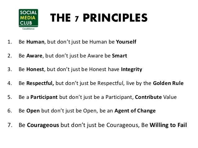 THE 7 PRINCIPLES1.   Be Human, but don't just be Human be Yourself2.   Be Aware, but don't just be Aware be Smart3.   Be H...